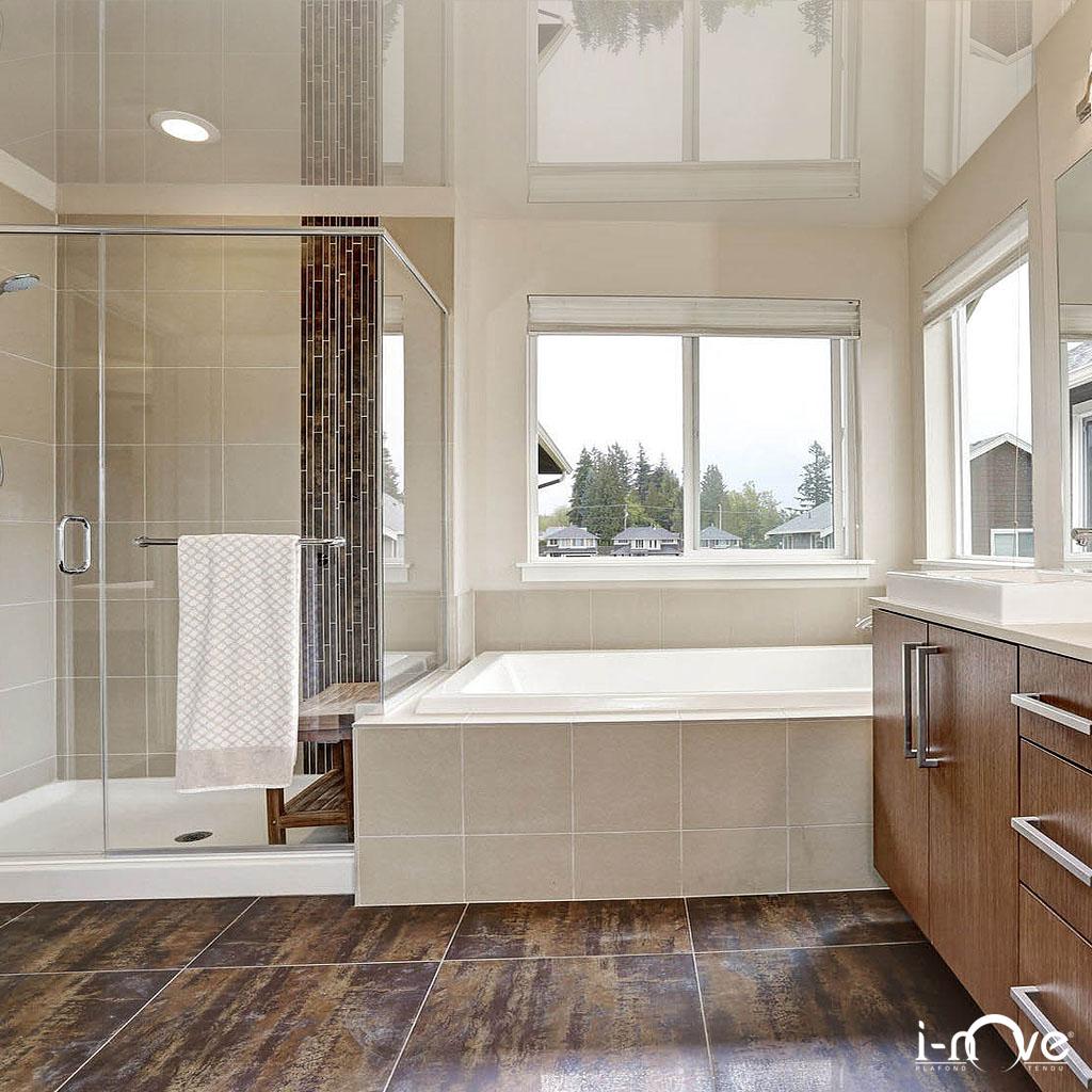 Photos plafonds tendus de salles de bain inove france - Plafond de salle de bain ...